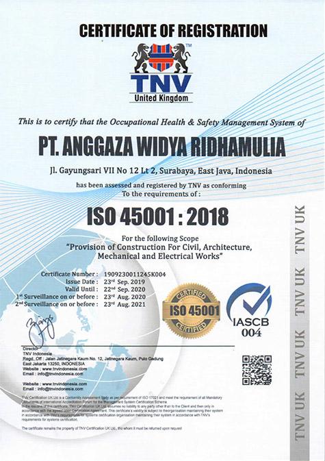 Sertifikat ISO 45001:2018 - AWRM Perusahaan Konstruksi Indonesia
